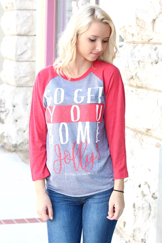 Go Get You Some Jolly Raglan {H. Grey+Red} - The Fair Lady Boutique - 2