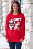 Don't Stop Believing Dancing Santa Long Sleeve Tee {Red} - The Fair Lady Boutique - 1