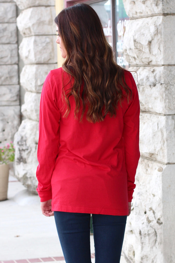 Don't Stop Believing Dancing Santa Long Sleeve Tee {Red} - The Fair Lady Boutique - 2