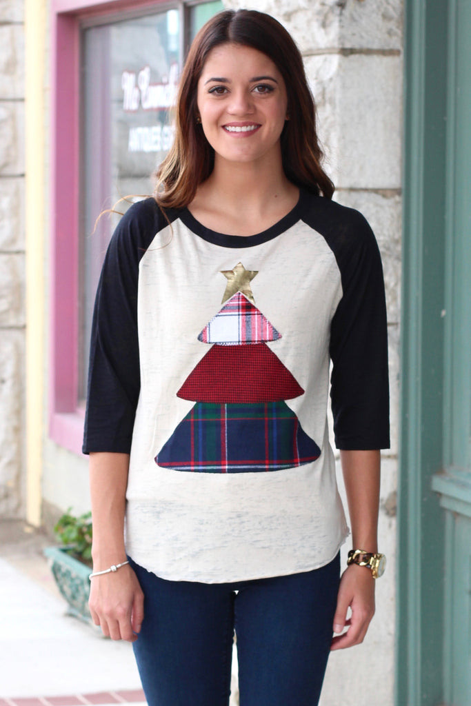 Plaid Christmas Tree Appliqué Raglan {Black} - The Fair Lady Boutique - 1