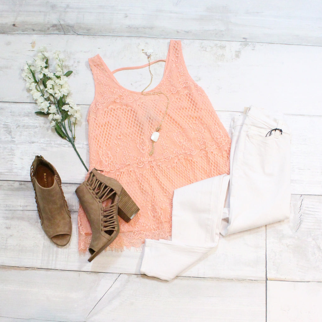 Lace Relaxed Peplum Tank {Peach} - The Fair Lady Boutique - 5