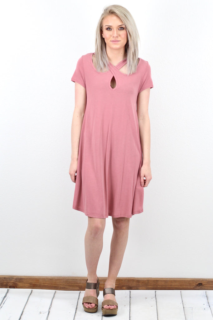 Strappy Keyhole Neck Modal Dress {Marsala} - Size SMALL