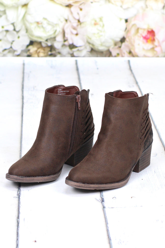 Volatile: Valence Metallic Lace-Up Bootie {Bronze + Brown}
