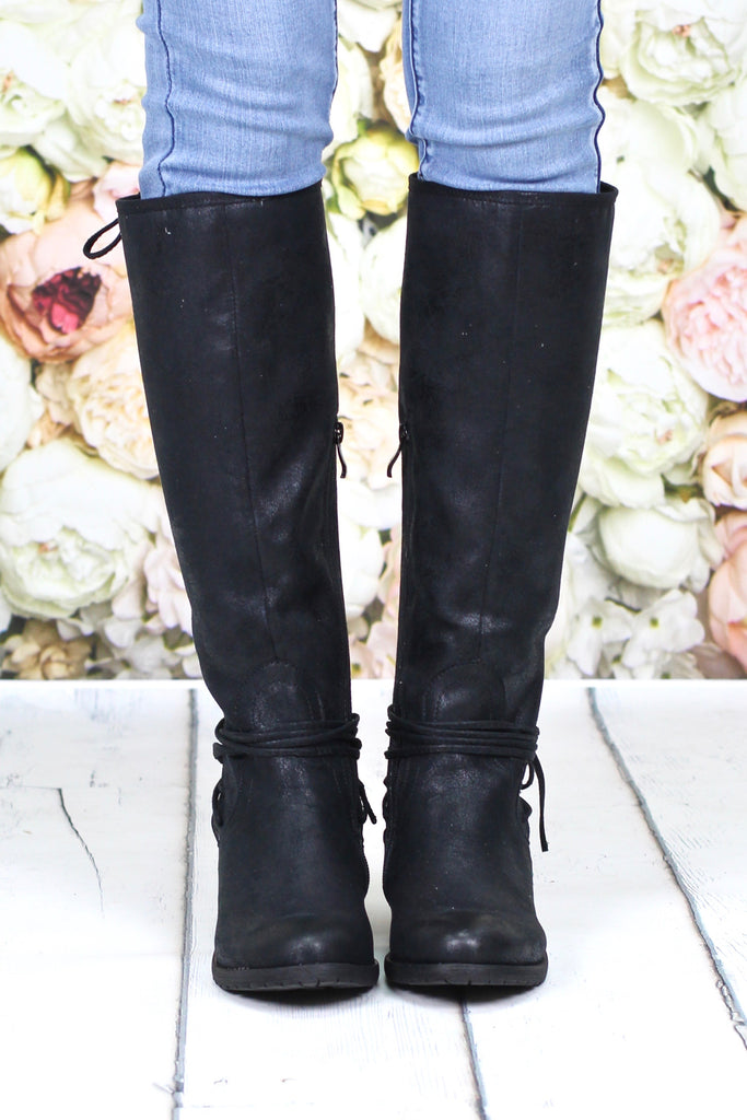 Very Volatile: Marcelina Lace Up Back Boots {Black}