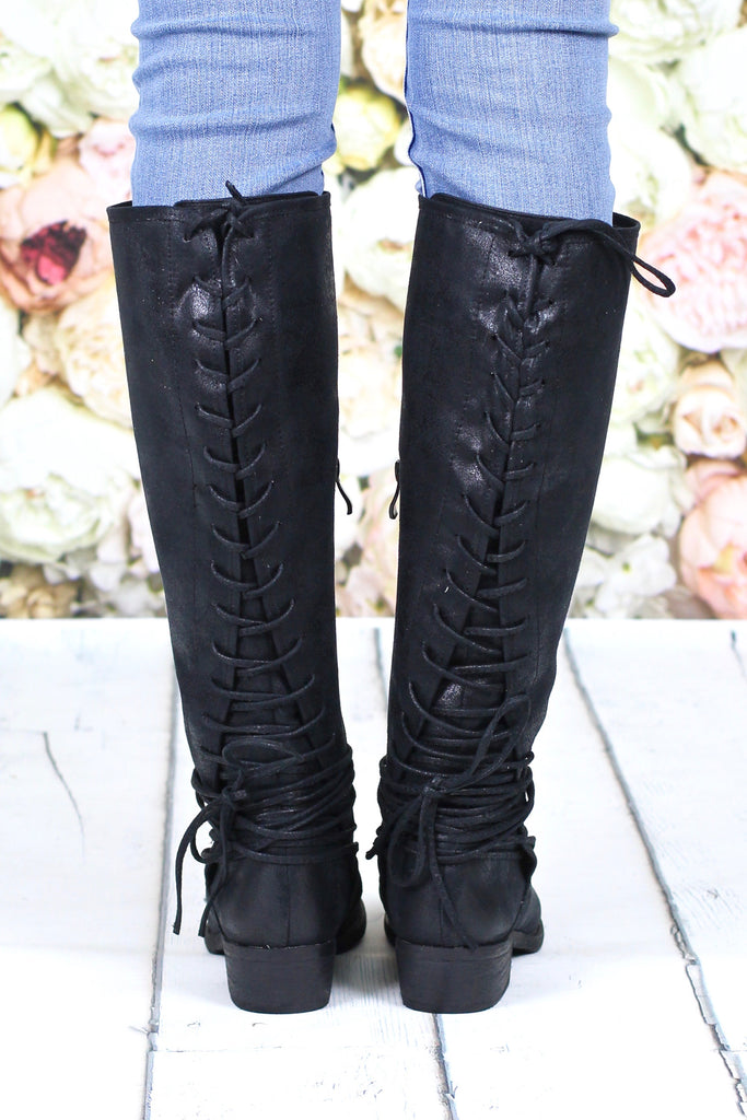 5328d55242179 Very Volatile: Marcelina Lace Up Back Boots {Black} – TFL