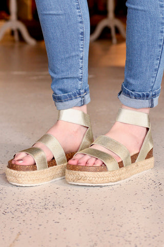 Ankle Wrap Bork Sandals {Gold}