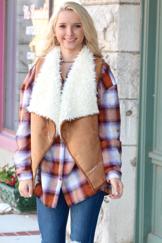 Out of the Woods Fur Shearling Vest {Camel} - The Fair Lady Boutique - 1
