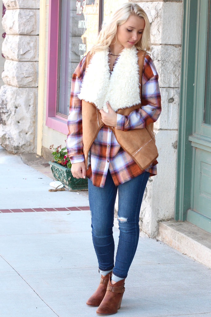 Out of the Woods Fur Shearling Vest {Camel} - The Fair Lady Boutique - 2