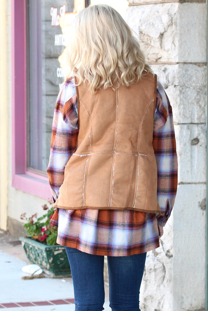Out of the Woods Fur Shearling Vest {Camel} - The Fair Lady Boutique - 4