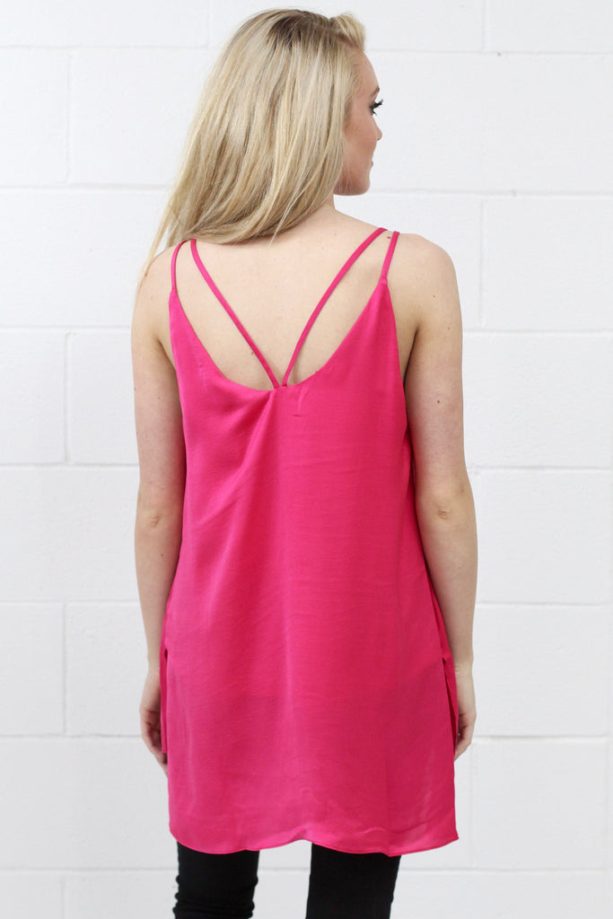 Strappy Satin Side Slit Tanks {Fuchsia}