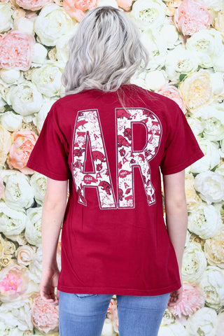 Arkansas Razorbacks 3/4 Jersey V-neck {White}