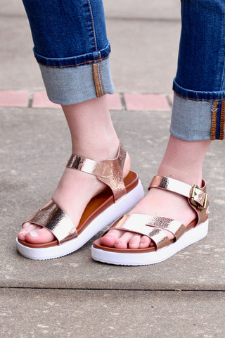 Bork Strappy Classic Slide On Sandals {Rose Gold}