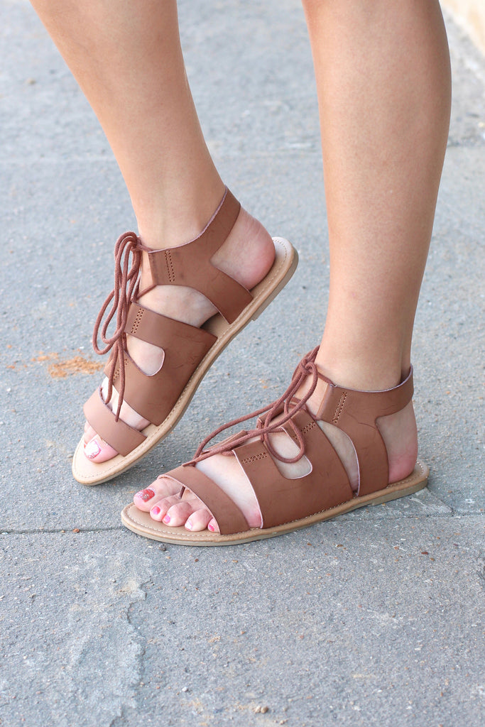 MIA: Delphine Lace Up Sandals {Dk. Brown} - The Fair Lady Boutique - 1