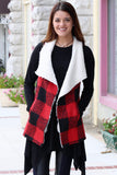 Checked Out Fur Lined Vest {Red+Black} - The Fair Lady Boutique - 1