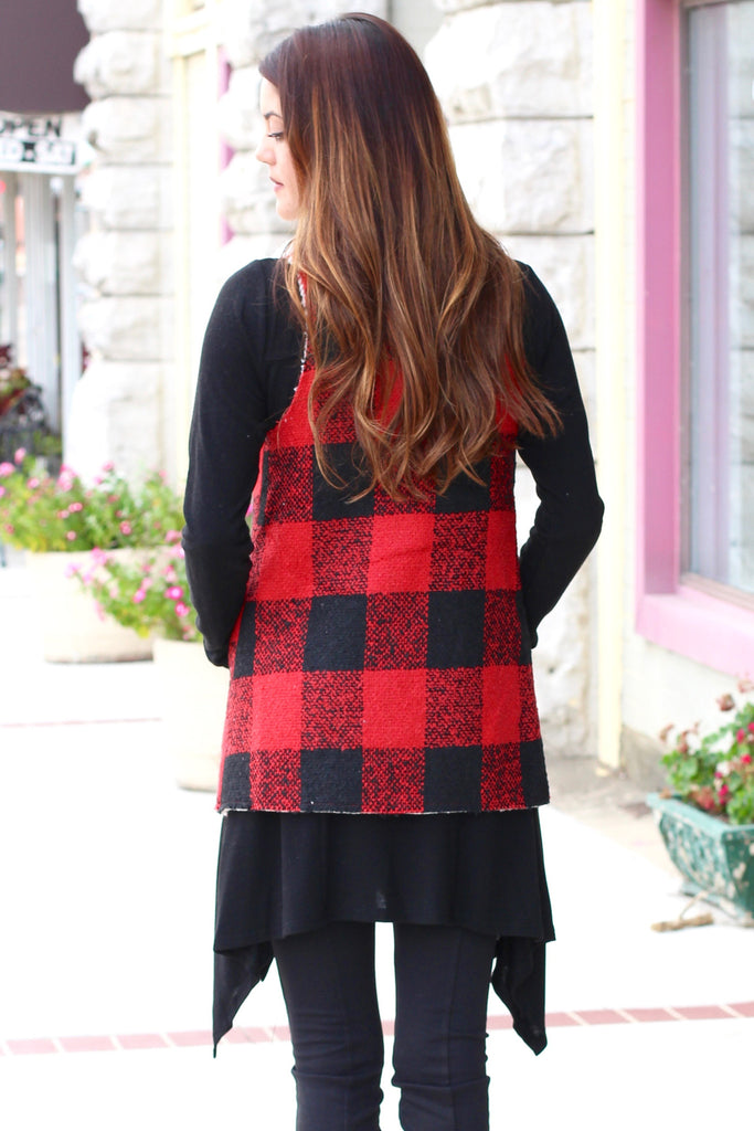 Checked Out Fur Lined Vest {Red+Black} - The Fair Lady Boutique - 3