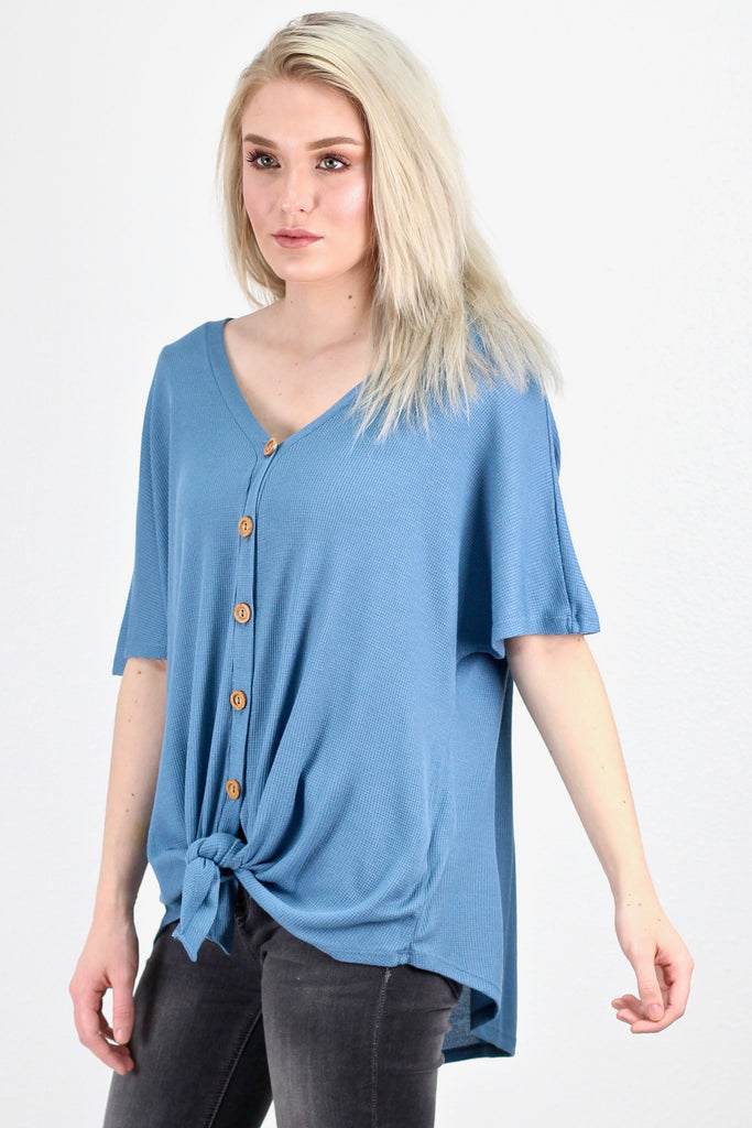Oversized Button & Tie Front Short Sleeve Thermal {Denim Steel}