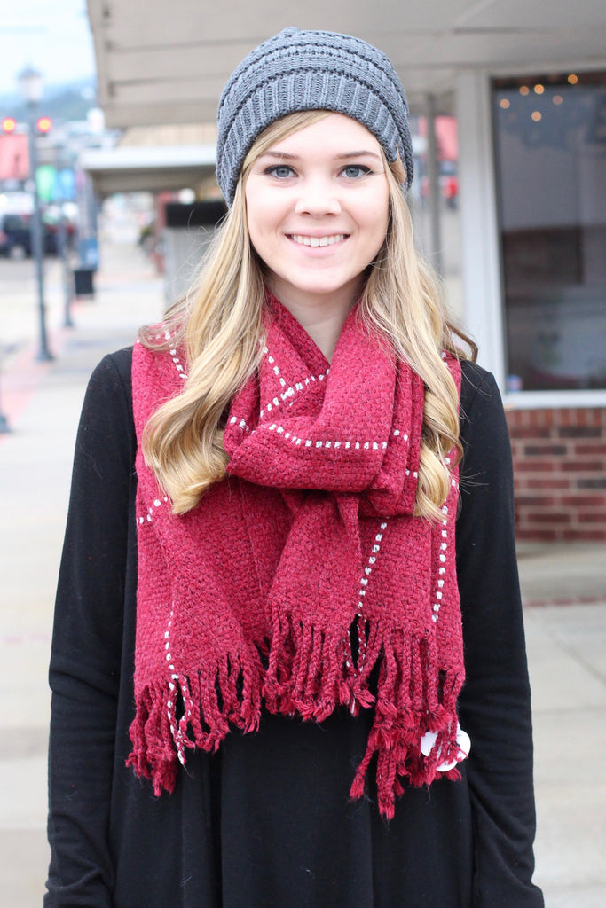 Thick + Cozy Frayed Tassel Edge Scarf {Red Mix} - The Fair Lady Boutique - 2