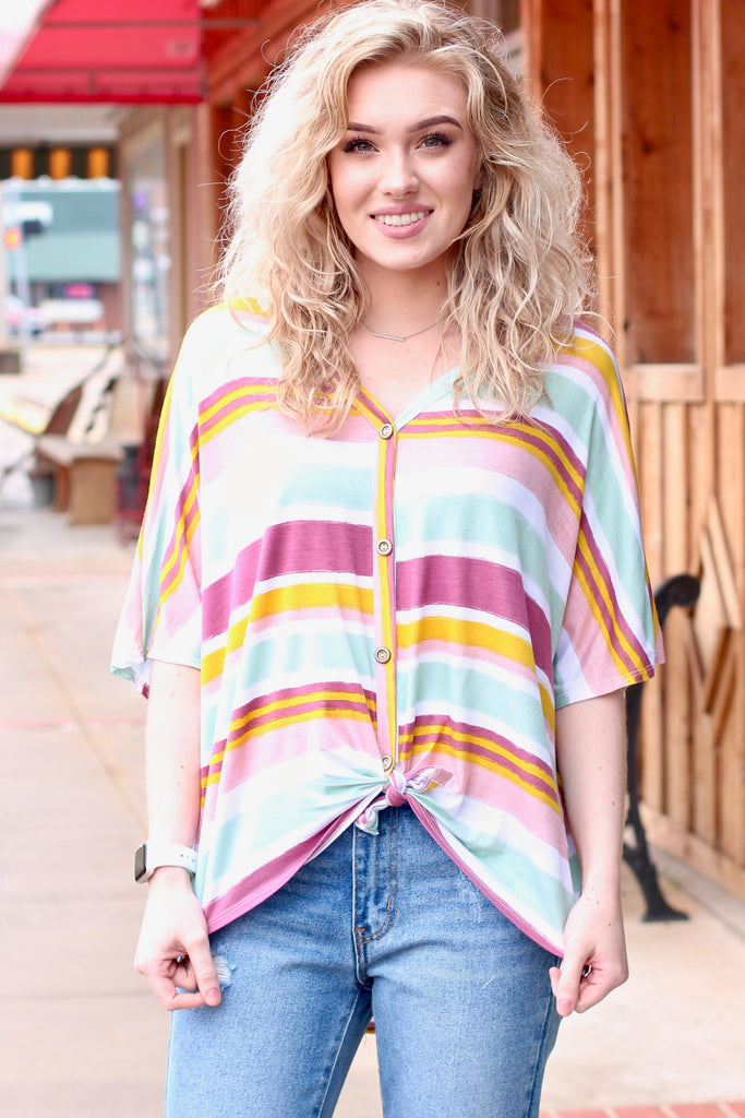 Coral Rainbow Stripe Front Tie Top