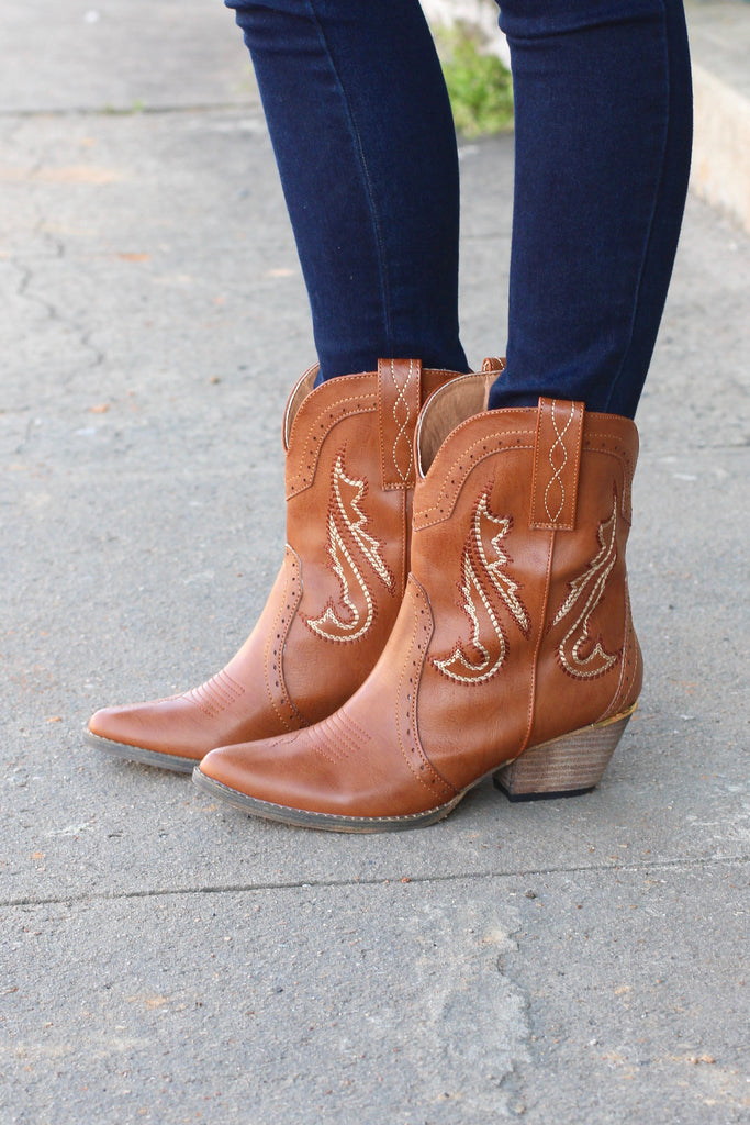 Very Volatile: Markie Western Bootie {Tan} - The Fair Lady Boutique - 2