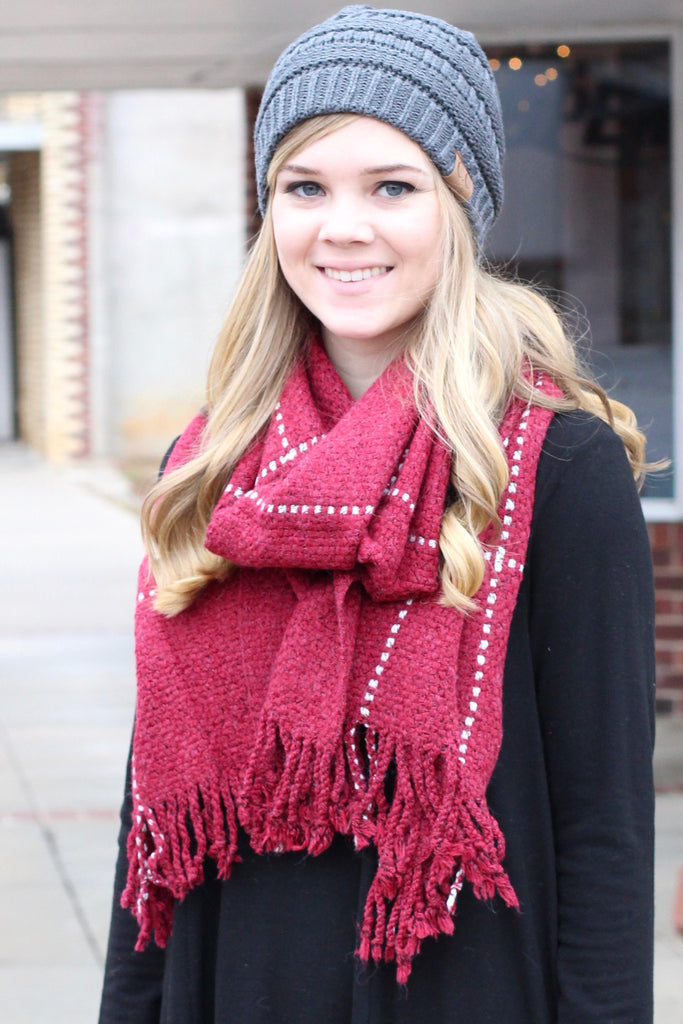 Thick + Cozy Frayed Tassel Edge Scarf {Red Mix} - The Fair Lady Boutique - 1