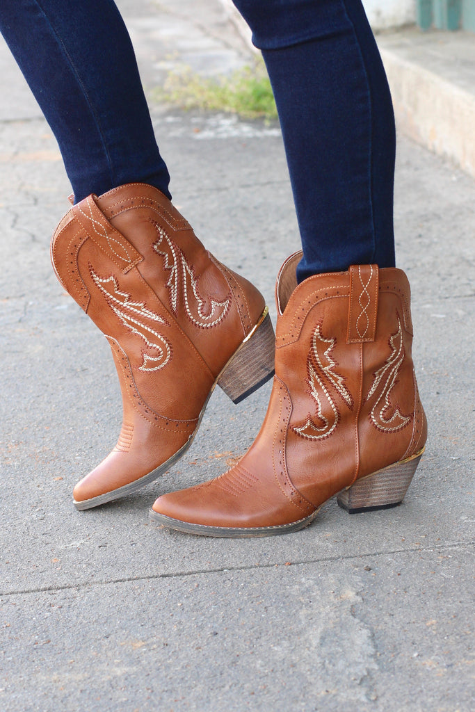 Very Volatile: Markie Western Bootie {Tan} - The Fair Lady Boutique - 1