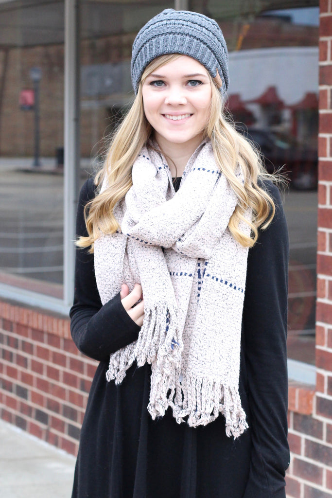 Thick + Cozy Frayed Tassel Edge Scarf {Blush Mix} - The Fair Lady Boutique - 1