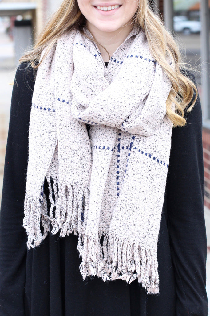 Thick + Cozy Frayed Tassel Edge Scarf {Blush Mix} - The Fair Lady Boutique - 2