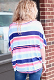 Navy Rainbow Stripe Front Tie Top