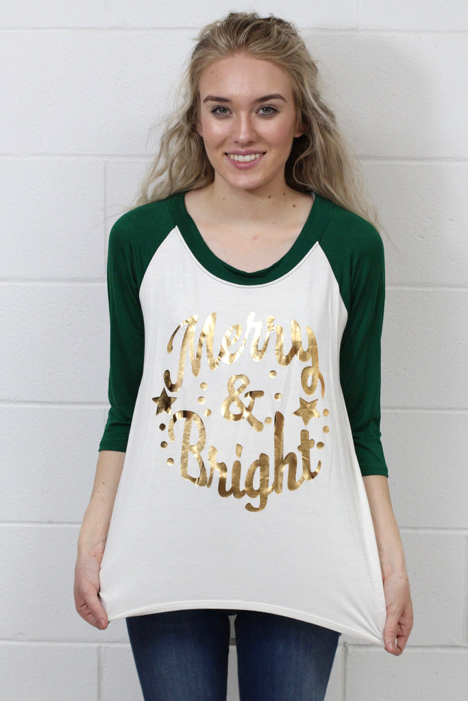 Gold Foil Merry + Bright Raglan {Green} KIDS + ADULTS