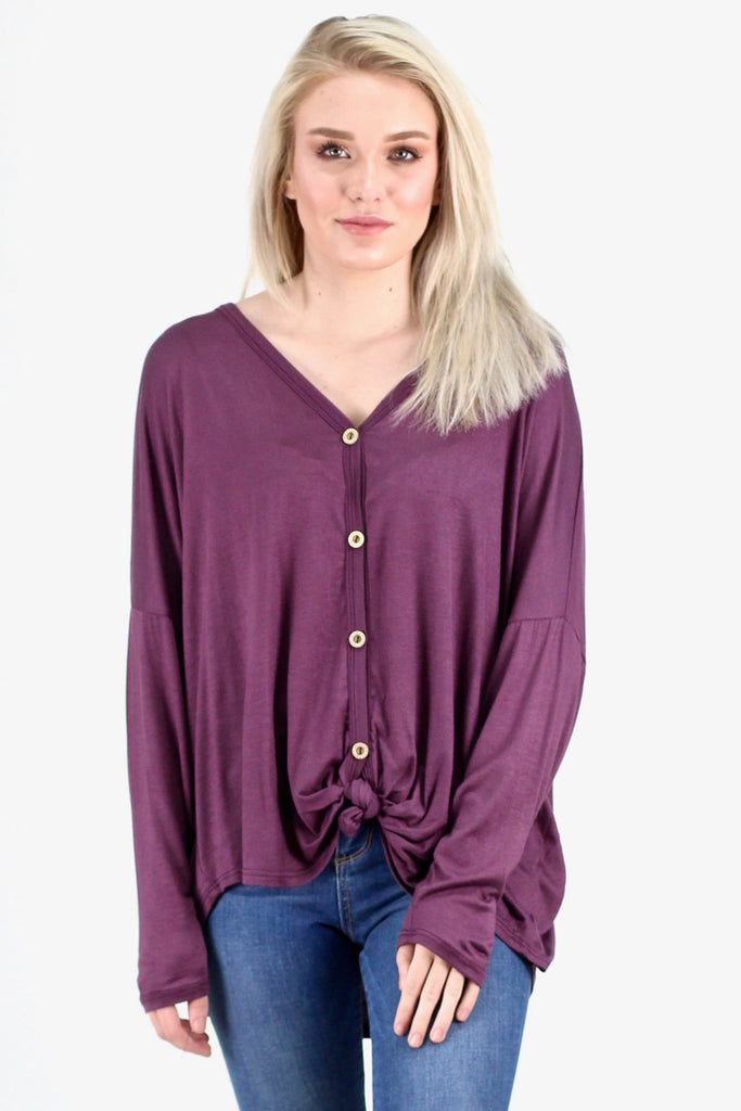 Solid Button Down + Knot Front Long Sleeve {Purple} - Size MEDIUM