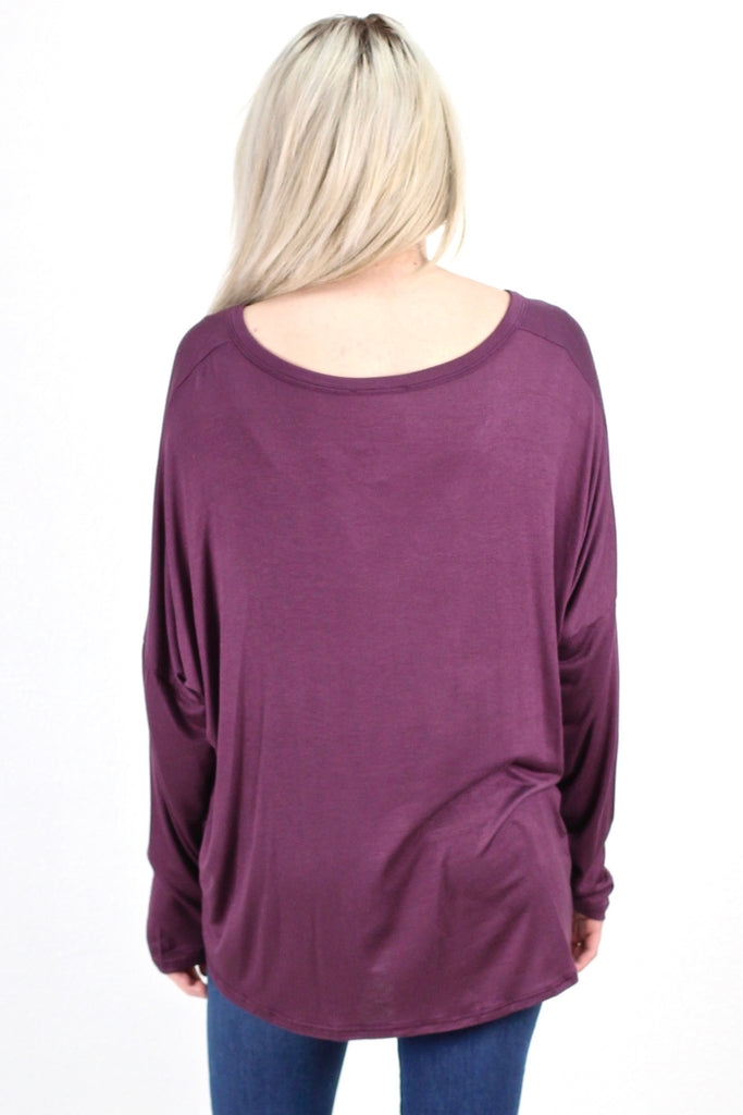 Solid Button Down + Knot Front Long Sleeve {Purple}