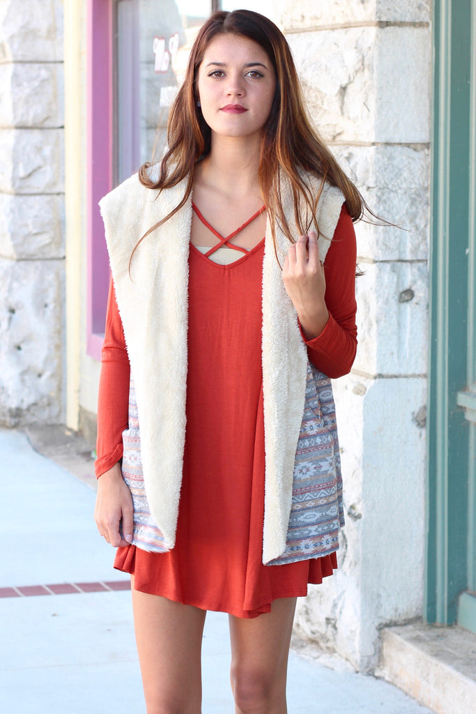 Fur Lined Tribal Print Hooded Vest {Rust Mix} - The Fair Lady Boutique - 3