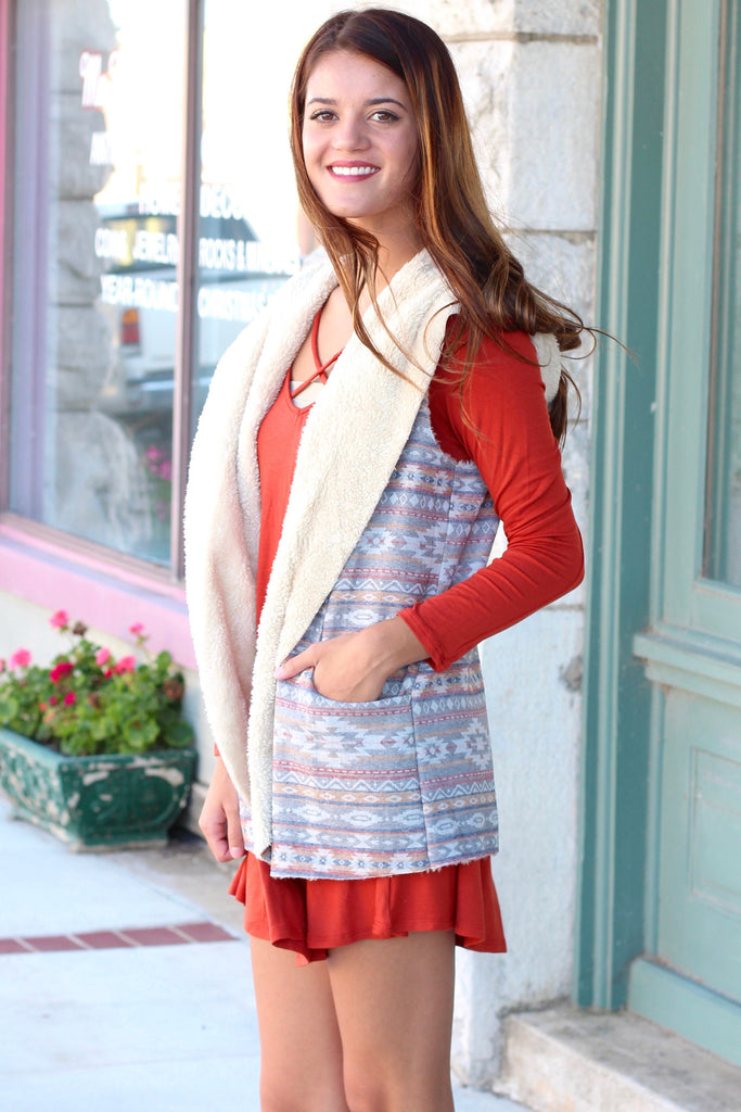 Fur Lined Tribal Print Hooded Vest {Rust Mix} - The Fair Lady Boutique - 4