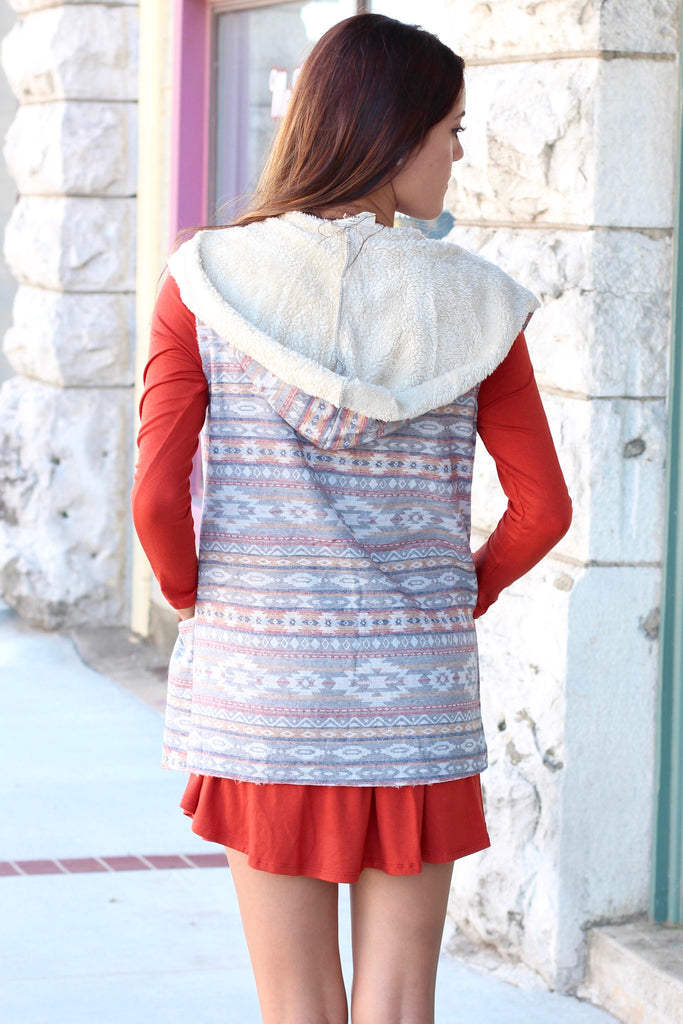 Fur Lined Tribal Print Hooded Vest {Rust Mix} - The Fair Lady Boutique - 5