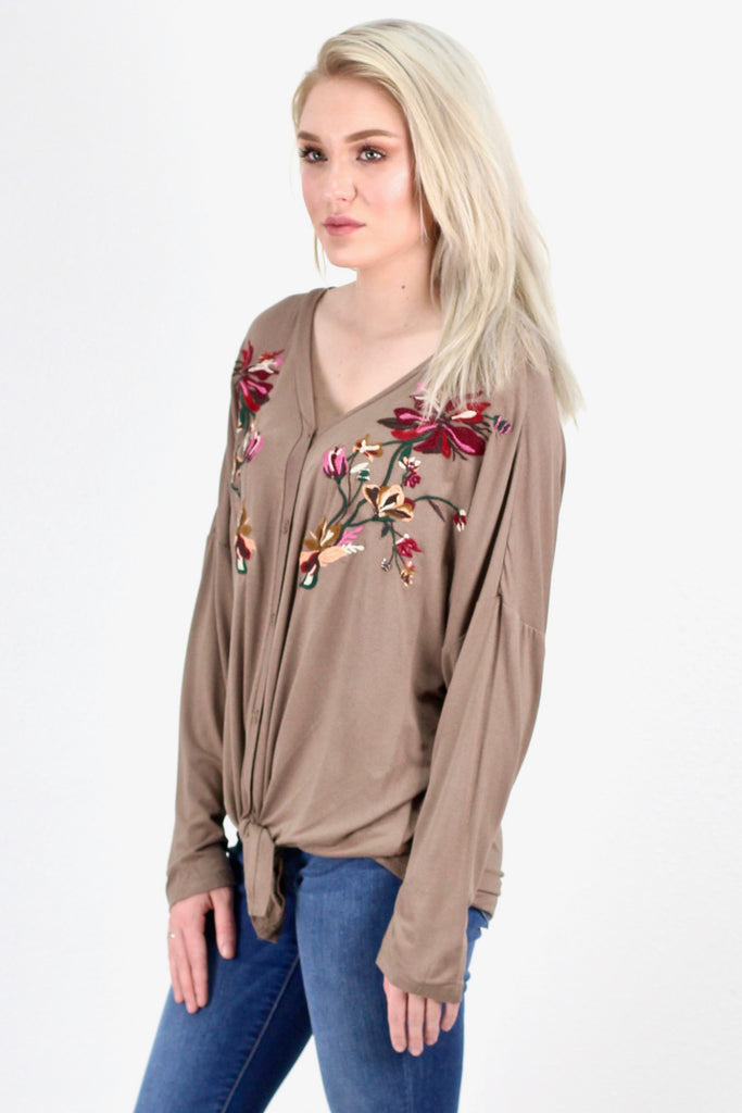 Embroidered & Knotted Button Down L/S {Mocha} - Size LARGE
