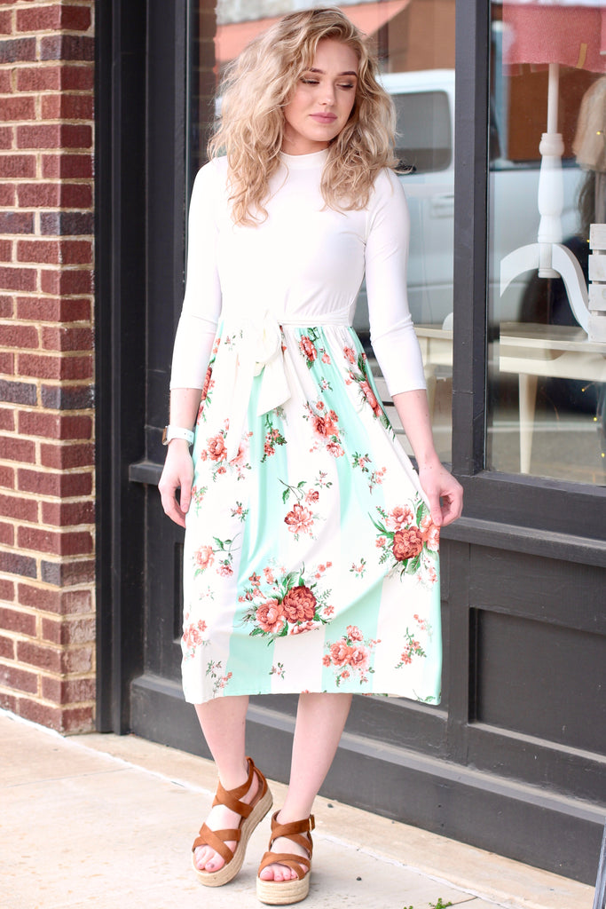 Lyssa Stripe + Floral Print Midi Dress {Mint}