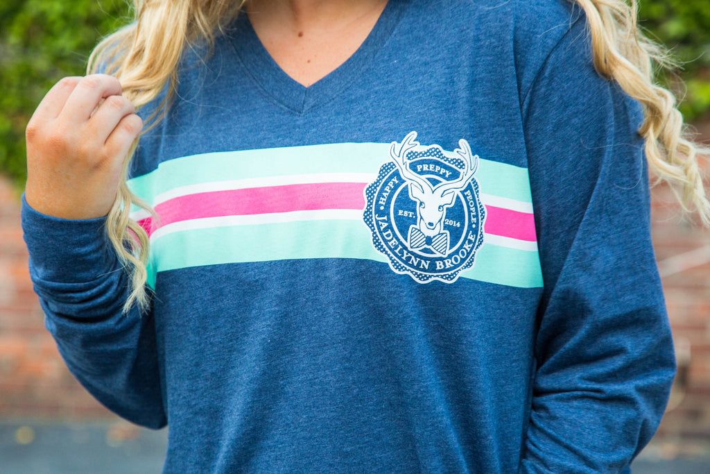 Jadelynn Brooke: Fall Stripe Logo Back L/S {Heather Navy}