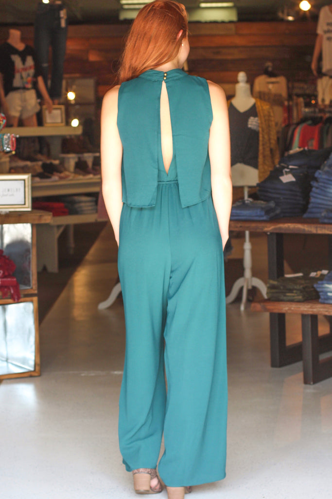 {Green} Celeb Status Mock Neck Jumpsuit - Size MEDIUM