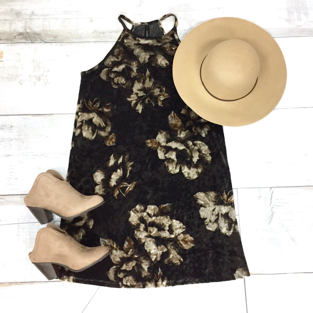 Fall Florals Crushed Velvet Dress {Brown Mix} - Size MEDIUM