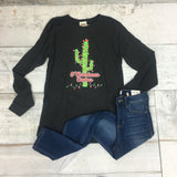 Oh Christmas Cactus L/S Tee {Charcoal Black} - Size SMALL