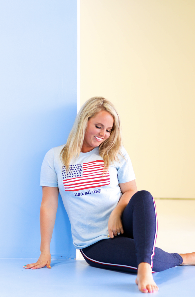 Things She Loves: USA All Day Flag Tee {Ice Blue}