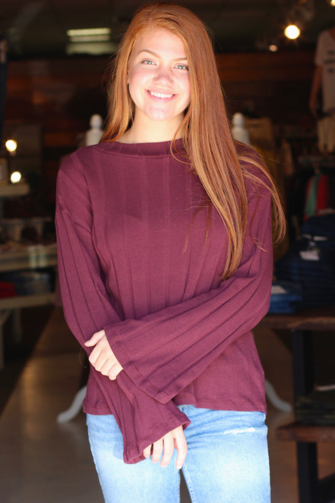{Plum} Ribbed Mock Neck L/S Sweater