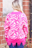 {Hot Pink} Leopard Print Frayed Hem V-neck Sweater
