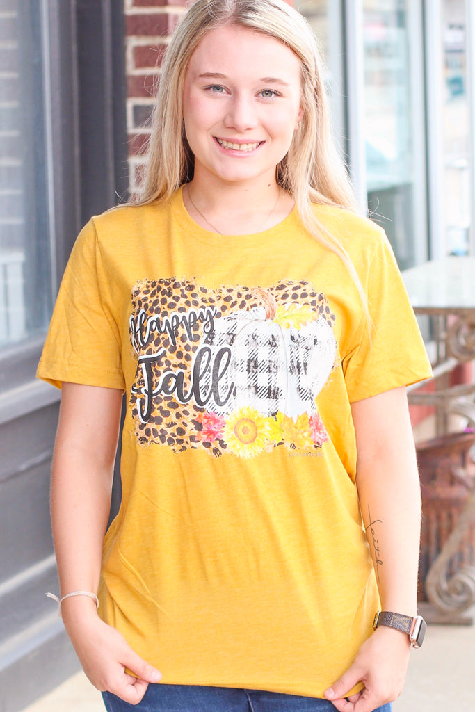 {H. Mustard} Happy Fall Leopard+Buffalo Check Tee