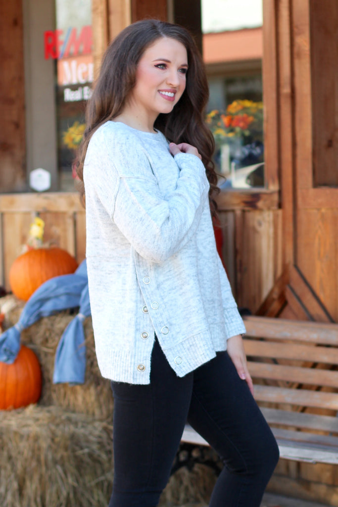 Button Side Slit Striped Sweater {L. Grey}