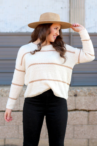 Metallic Leopard Print Knit Sweater {White/Silver}