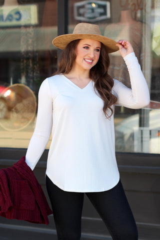 {L. Rust} Best Basic 3/4 Sleeve Tunic Top