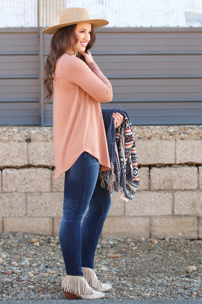 {L Camel} Best Basic Long Sleeve Tunic Top