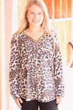 Glitzy Leopard Sequin Trim L/S Top