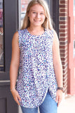 Abstract Animal Print Twisted Hem Tank